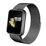 Lintelek Smartwatch HR NEU Smart Watch Health Watch Fitness Armband Pulsuhren Sportuhr Farbbildschirm Blutdruck Vibrationsalarm kompatibel mit iPhone Android...