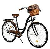 Milord. 28 Zoll 3-Gang schwarz-braun Komfort Fahrrad mit Korb und Rückenträger, Hollandrad, Damenfahrrad, Citybike, Cityrad, Retro, Vintage