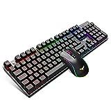 havit Mechanische Gaming Tastatur und Maus Set, QWERTZ LED Tastatur (DE-Layout) mit Aluminiumoberfläche, 4800DPI RGB Gaming Maus mit 7 Tasten
