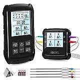 Navidue Grillthermometer mit 4 Sonden, Kabelloses Digitales Fleischthermometer für BBQ, Grill, Ofen, und Küche, Bratenthermometer mit...