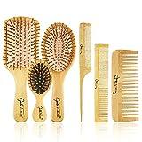 E-More Bambus Haarbürste mit Naturborsten umweltfreundlich - Natur-Bürste mit Bambusborsten für natürlich schöne Haare für Männer, Frauen & Kinder-...