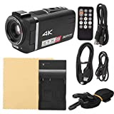 Akozon Videokamera HDR-Ax60 4k HD-Video-Digitalkamera 12x optischer Zoom 3,5-Zoll-IPS-Bildschirm-Camcorder Drahtloses WiFi Mit LED-Fülllicht(schwarz)