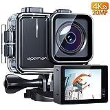 APEMAN Action Cam A100, Echte 4K/50fps WiFi 20MP Unterwasserkamera Digitale wasserdichte 40M Helmkamera (Extreme Video/Bildstabilisator, 2x1350mAh verbesserten...