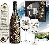 Matador Del Mar Wein-Geschenk mit 2 Kristallgläsern (Echt-Gold) Rotwein-Set Bordeaux Syrah mit Zertifikat für Weinkenner und Luxus-Liebhaber Weihnachten...