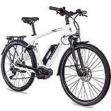 CHRISSON 28 Zoll Herren Trekking- und City-E-Bike - E-Actourus Weiss matt - Elektro Fahrrad Herren - 10 Gang Shimano Deore Schaltung - Pedelec mit Mittelmotor...