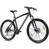 CHRISSON 27,5 Zoll Mountainbike Hardtail - 27,5er schwarz - Hardtail Mountain Bike mit 24 Gang Shimano Acera Kettenschaltung - MTB Fahrrad für Herren und Damen...