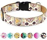 Taglory Verstellbares Hundehalsband,Weich & Komfort Hunde Halsband für Kleine Hunde,Braun Ethnisch