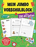 Mein Jumbo Vorschulblock: Spielend einfach Zahlen und Buchstaben lernen plus Schwungübungen - A4 Vorschule Übungshefte ab 5 Jahre für Junge und ... - Ideale...