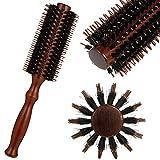 atnight Wildschweinborsten-Rundbürste, Antistatic Roller Hair Comb Runde Haarbürste Holzgriff Stylingbürste Frauen Männer für langes, kurzes, glättendes,...