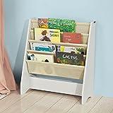 SoBuy FRG225-W Kinder-Bücherregal Hängefächerregal Zeitungsständer mit 4 Ablagefächern Büchergestell BHT ca: 62x71x29cm