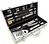 Heim & Büro Grillbesteck aus Edelstahl im Aluminium Koffer | 16 teilig | Grillzange | Grillspieße | Grillwender | Pinsel | Maiskolbenhalter