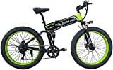 LFSTY Verbesserte Electric Mountain Bike 350W 26-Zoll-Fat Tire E-Bike 7 Beschleunigt Beach Cruiser Sport Mountainbikes Fullys, Lithium-Batterie,Green