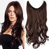Haarteil Extensions 1 Tresse günstig Haarverlängerung Synthetische mit Draht Haarextensions für Haarverdichtung Gewellt Hair 24'(60cm)-120g Mittelbraun