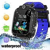 LDB Kinder Smartwatch Phone, wasserdichte Tracker Micro Chat SOS Wecker Touchscreen Anti Verlorene Spiel Junge Mädchen Weihnachts Geburtstagsgeschenk (Blau)