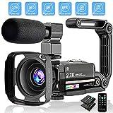 Videokamera 2.7K Camcorder UHD 36MP Vlogging Kamera für YouTube IR Nachtsicht 3.0' LCD Touchscreen 16X Digital Zoom Kamera Recorder mit Mikrofon...