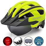 Victgoal Fahrradhelm MTB Mountainbike Helm mit abnehmbarem magnetischem Visier Abnehmbarer Sonnenschutzkappe und LED Rücklicht Radhelm Rennradhelm für...