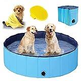 Hundepool für Große & kleine Hunde, Faltbare Schwimmbecken für Kinder 80cm/120cm/160cm, Verdicktes Baby Badewanne Wasserbecken, rutschfest Planschbecken mit...