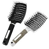 Haarbürste, Wildschweinborste Haarbürste mit Nylonborsten, Gebogen Belüftete Bürste Entwirrungsbürste Stylingbürste für natürliches, lockiges, glattes,...