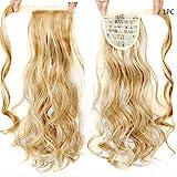 24-Zoll-seidige gerade synthetische Clip in der Menschenhaarstücke unordentlich blonden lockigen Pferdeschwanz für Frauen Brautpferdeschwanz Haarteil Stück...