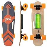 CAROMA Elektrisches Skateboard mit drahtloser LED-Fernbedienung, 350 W einmotoriges elektrisches Longboard mit 7-lagigem Ahorndeck für Kinder, Erwachsene und...