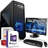 AMD Ryzen 3 3200G 4x4.0GHz Komplett PC-Paket Set mit 24 TFT - Monitor/Tastatur Maus | 16GB DDR4 |256GB M2 SSD und 1TB Festplatte | Win10 | WLAN | Gamer pc...