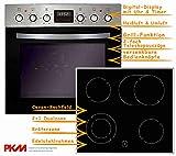 PKM Einbauherd Set Backofen Ceran Kochfeld mit Edelstahlrahmen Herd Set | Bräterzone | Teleskopauszüge | Timer | 2+1 Dualzone | Edelstahlrahmen | Heißluft |...