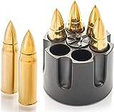 AIOXY Gold XL Edelstahl Whisky Steine Bullets – Hohe Kühltechnologie - Geschenk für Männer - Eiswürfel Wiederverwendbar - Edelstahl Eiswürfel - 6 Whiskey...