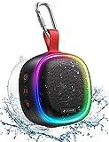 Bluetooth Lautsprecher mit RGB Licht, LENRUE IPX7 Wasserdicht Kabelloser Lautsprecher Musikbox mit DSP Stereo, TWS Technik, 20H Akku, Saugnapf, Tragbare...