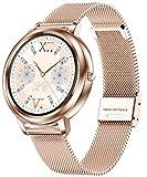 Smartwatch Damen Rosegold Silber Voller Touchscreen Fitness Tracker für Frauen Herzfrequenz Schlafmonitor Schrittzähler Armbanduhr Metallband Kompatibel mit...
