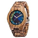 MUJUZE Holzuhr Herren Damen Holzuhren für Herren Analoge Quarz Holz Armbanduhren mit Sandelholz Band und Leuchtendem Zeiger (Zebra-2)