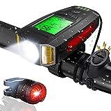 CrazyFire LED Fahrradlicht mit Fahrradcomputer Wiederaufladbarer Fahrradbeleuchtung mit Lauter Glocke Rücklicht 5 Beleuchtungsmodi Radfahren Taschenlampe...