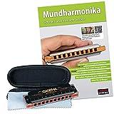 Cascha Mundharmonika C-Dur Anfänger u. Fortgeschrittene I Hochwertige 10-Loch diatonische Harmonika inklusive Lehrbuch und CD I Perfekte Aufbewahrung u. Pflege...
