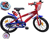 Kinderfahrrad 16 Zoll mit 2 Bremsen, dekorativer Frontplatte, Trinkflaschenhalter, Schutzblech, aufblasbare Reifen + Helm, Spiderman inklusive, für Jungen, rot...