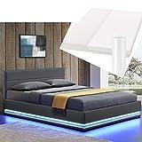 Polsterbett Toulouse 180x200 cm – Bett mit Matratze, Lattenrost, Kopfteil, LED & Stauraum – Modernes Bettgestell - Bezug aus Kunstleder grau