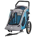Pawhut 2-in-1 Hundeanhänger Haustier Fahrradanhänger Hundetransporter Hunde Fahrrad Anhänger Oxfordstoff Atmungsaktiv Metall Oxford-Gewebe Blau 140 x 71 x...