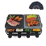 Raclette Grill mit Natursteinplatte und Grillplatte, Raclette 8 Personen, Multifunktion Raclette 2 In 1, Antihaftbeschichtet, Weniger Öl und Leicht zu...
