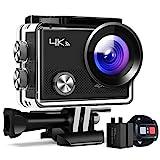 Action Kamera A77, 4K 16MP Wi-Fi Wasserdicht 30M mit Fernbedienung Unterwasser-Digitalkamera, Hyperstabilisierungskamera, 170° Weitwinkelansicht mit 20...
