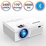 BIGASUO Bluetooth Beamer, LED 2400 Lumen Mini HD Heimkino Beamer Unterstützung 1080P Video HDMI VGA Installation für Smartphone, iPhone, iPad, Laptop