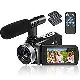 Videokamera Camcorder Full HD 1080p 30FPS HD Camcorder 24MP Videokamera 18-Fach Digitalzoom videokamera 3 Zoll IPS-Bildschirm Videokamera mit Fernbedienung und...