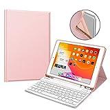 Fintie Tastatur Hülle für iPad 10.2 Zoll 7. Generation 2019, Soft TPU Rückseite Gehäuse Schutzhülle mit Pencil Halter, magnetisch Abnehmbarer Bluetooth...