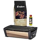 Enders Aurora Mirror Starterset Kupfer - Raucharmer Tischgrill im Set mit Holzkohle und Anzündpaste - mobiler Holzkohle-Grill, rauchfrei, mit Gussrost für...