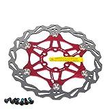 Newgoal Fahrradscheibe Bremsscheibe, 160mm Fahrradbremsscheibe Mountainbike Schwimmbremse Scheiben Center Lock Fahrradzubehör(Rot)