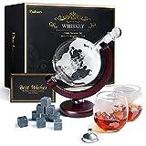 Whiskeyglas, kugelförmige Whisky-Karaffe Globus Segelschiff 930 ml mit Eisstein, 2 Whiskygläser, Geschenke für Männer, Vatertagsgeschenk,jahrestag geschenk...