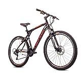breluxx® 29 Zoll Mountainbike Hardtail FS Disk Adrenalin Sport schwarz-rot, 21 Gang Shimano, FS + Scheibenbremsen - Modell 2021