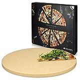 Navaris Pizzastein XL für Backofen Grill aus Cordierit - Pizza Stein Ofen Brot Backen Flammkuchen - Gasgrill Holz-Kohle Herd Teller rund Ø 30,5cm