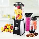Housmile Mix & Go Standmixer, leistungsstarker Smoothiemaker mit Edelstahlmesser, zwei BPA-freie Tritan Trinkflaschen und extra Mahlbecher, 300 W,...