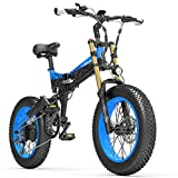 X3000plus-UP 20 Zoll 4,0 Fat Tire Snow Bike, klappbares Mountainbike, 1000W Motor, Vollfederung, verbesserte Vorderradgabel (Black Blue, 14.5Ah)