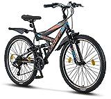 Licorne Bike Strong V Premium Mountainbike in 26 Zoll - Fahrrad für Jungen, Mädchen, Damen und Herren - Shimano 21 Gang-Schaltung - Vollfederung -...