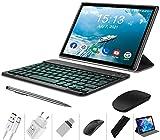 Tablet 10 Zoll Android 10.0, 64GB rom/4GB ram Quad Core 4G Tablet mit Deutsche Tastaturaufkleber Stift Tastatur, Type C, 5MP+8MP Kamera, 8000mAh Akku WiFi 4G...