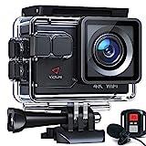 Victure AC700 Action Cam 4K 20MP wasserdichte 40M Unterwasserkamera WiFi helmkamera mit EIS Sensor, 2.4G Fernbedienung, externem Mikrofon und Montage Zubehör...